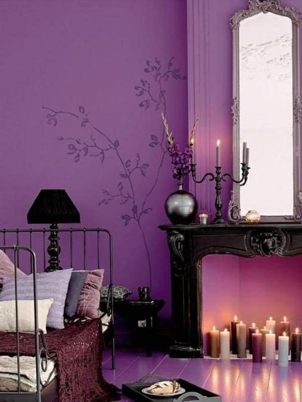 wandgestaltung vorschläge violette wandfarbe
