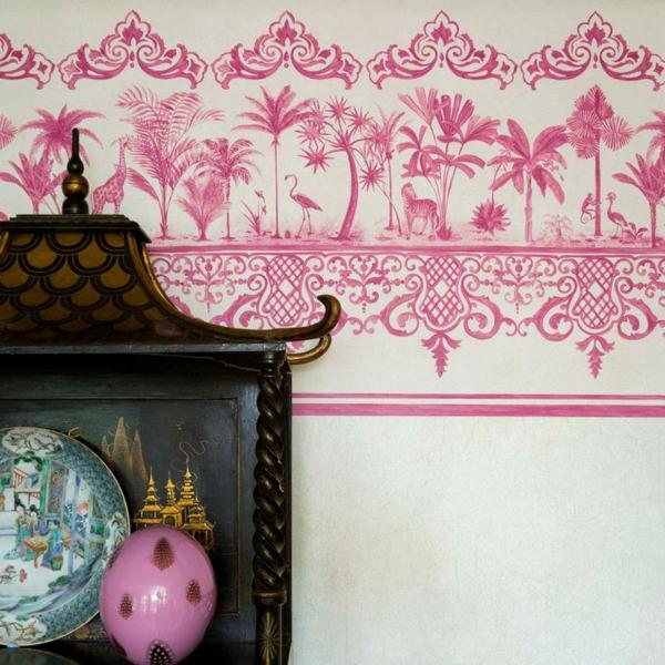wandtapeten muster und bilder rand thema rosa motive