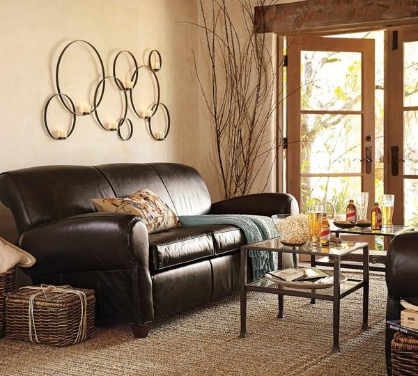 wohnzimmer dekorationen mit flechtkörben
