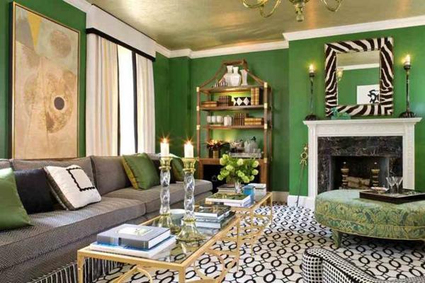 wohnzimmer mit grünem ambiente