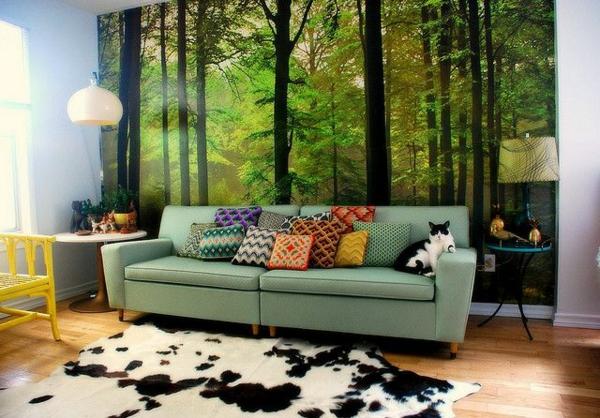 Wohnzimmer Wandgestaltung Wald Tapete