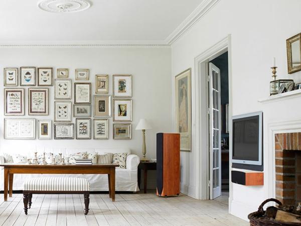 wohnzimmerwände ideen bilder aufhängen