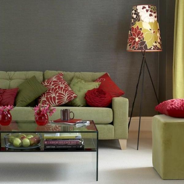 zimmer farbgestaltung schöne farbkombination salbeigrün rot