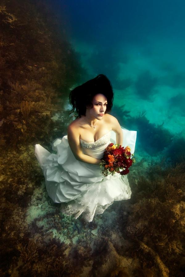 Bräute pflanzen unterwasser Nixen blumenstrauß kleid