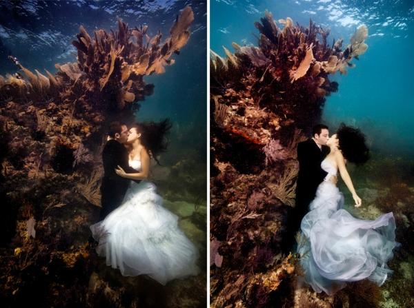 Bräute korallen Nixen hochzeitsfotos küssen