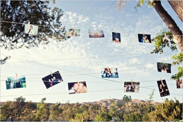 DIY Hochzeiten dekoideen ausstellen fotos hängend
