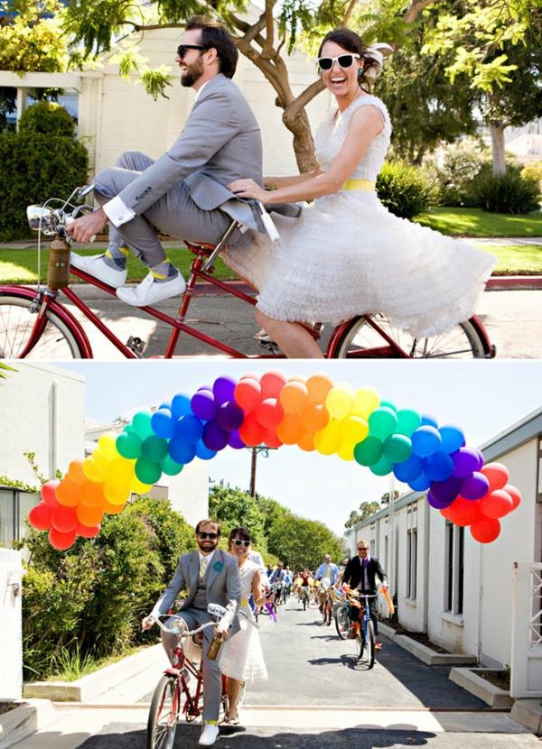 glückliches ehepaar Hochzeiten dekoideen fahrrad ballon