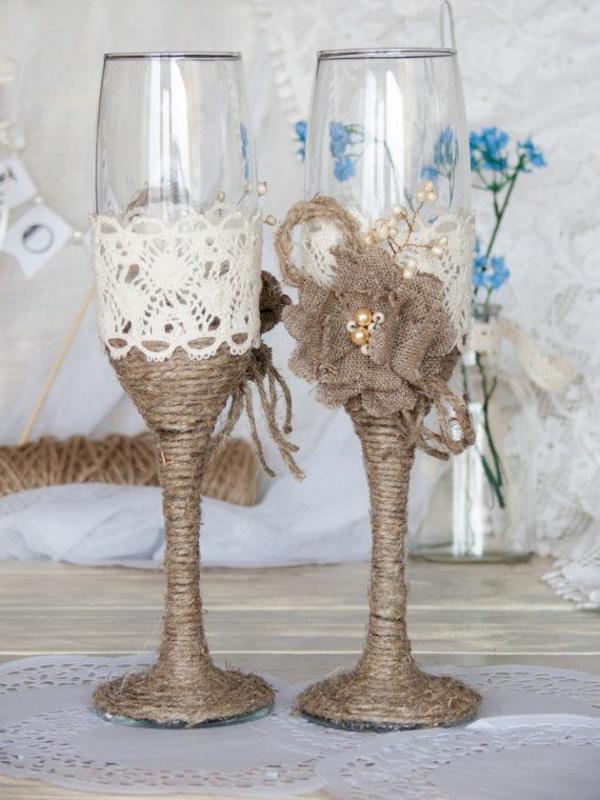 DIY Hochzeiten dekoideen gläser