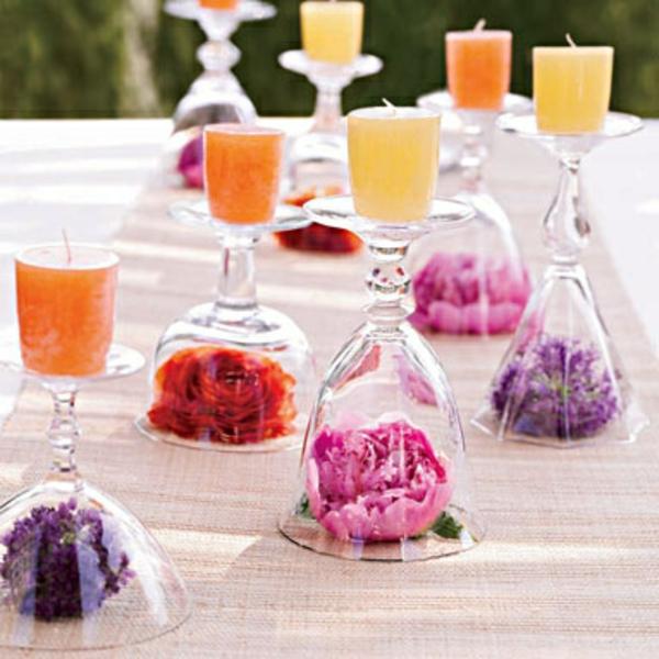 orange gelbe kerzen Hochzeiten dekoideen glas ausstellen