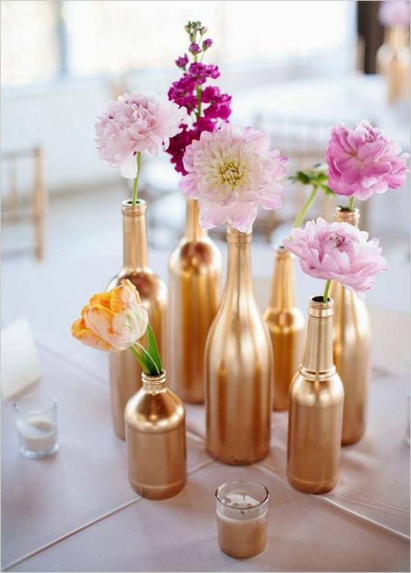 DIY Hochzeiten dekoideen golden flaschen