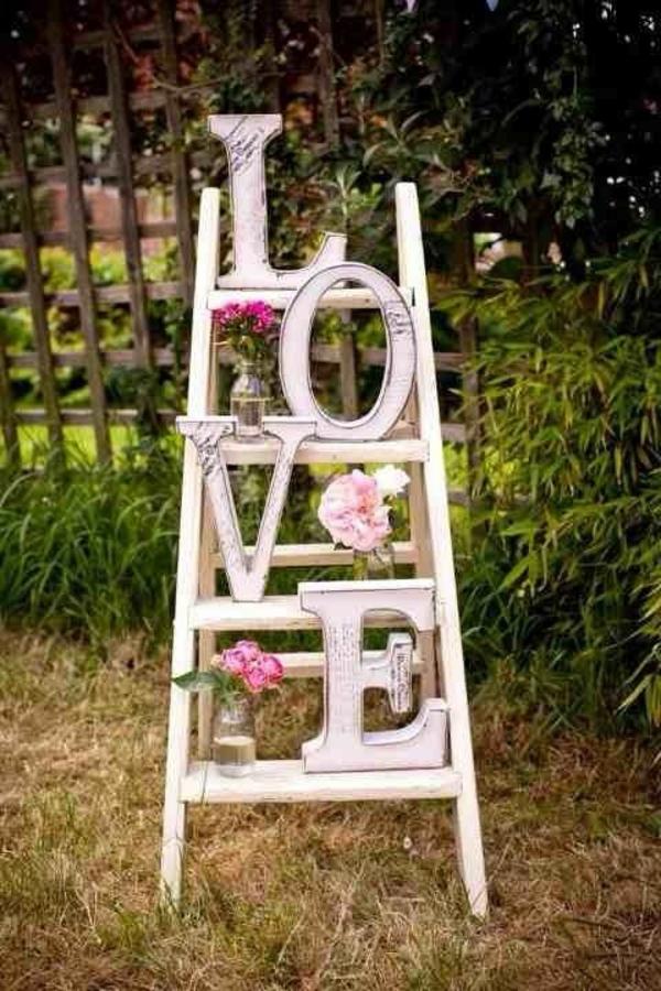 weiß holz Hochzeit dekoideen leiter liebe