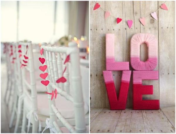 stricken garn rosa Hochzeit dekoideen liebevoll deko
