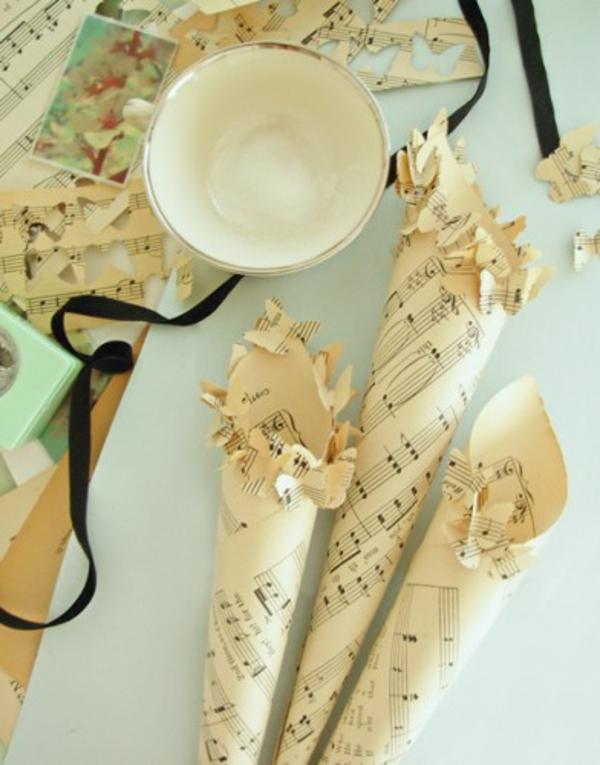 papier Hochzeiten dekoideen musik noten