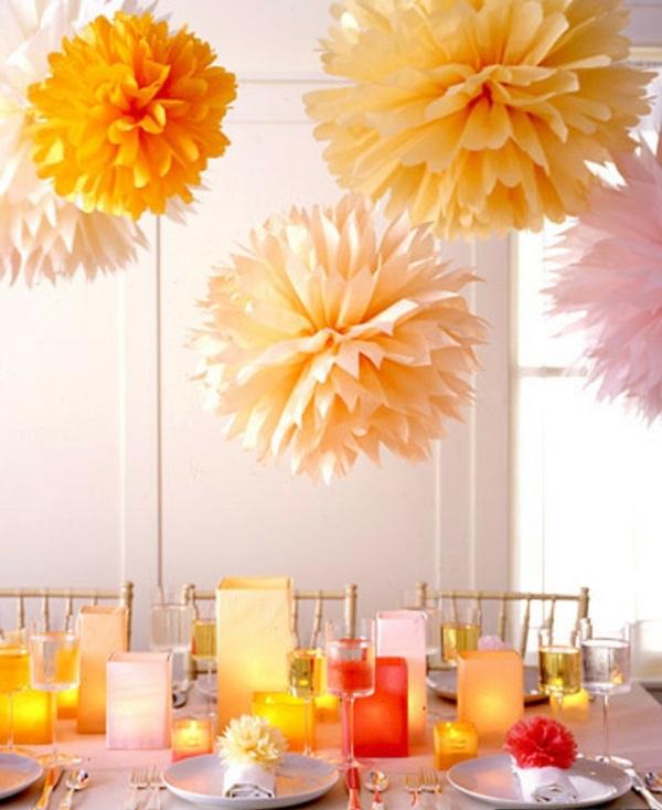 ideen voll Hochzeit dekoideen orange papier kreise