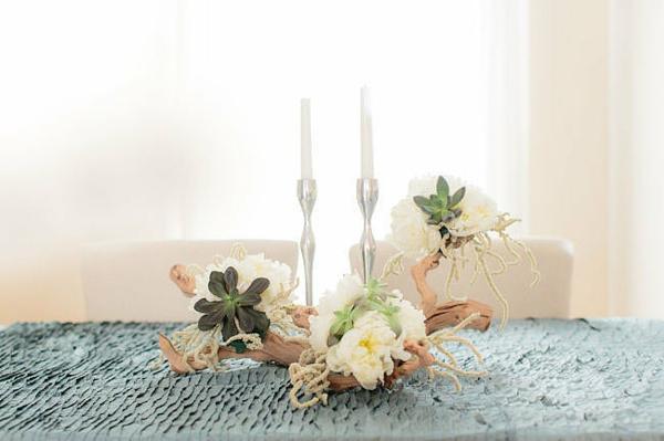 Hochzeit tischdecke stricken dekoideen tisch kerzen