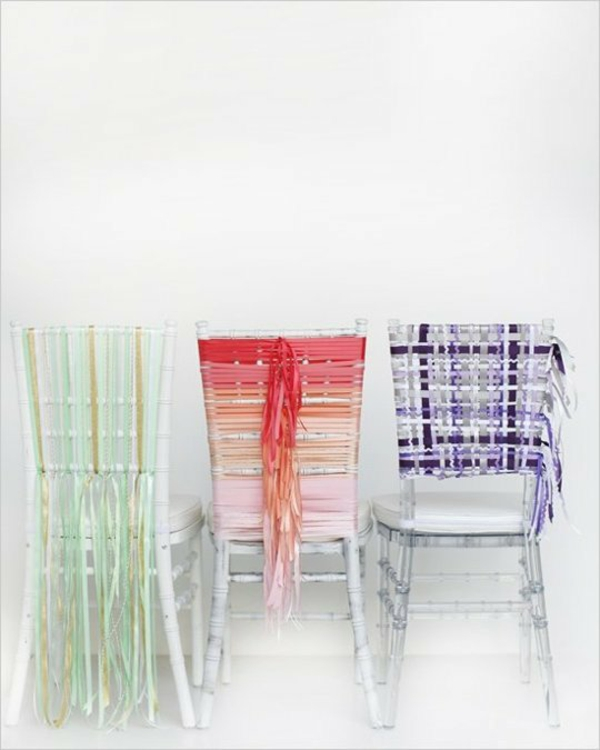 streifen Hochzeit dekoideen zierband rückenlehne stühle