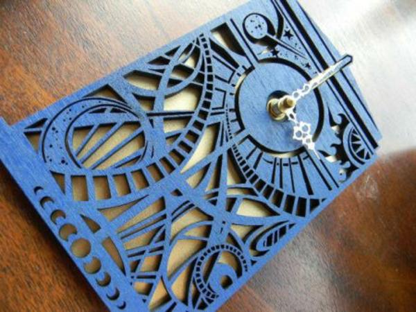Designer dekorativ Wanduhren ornamente blau