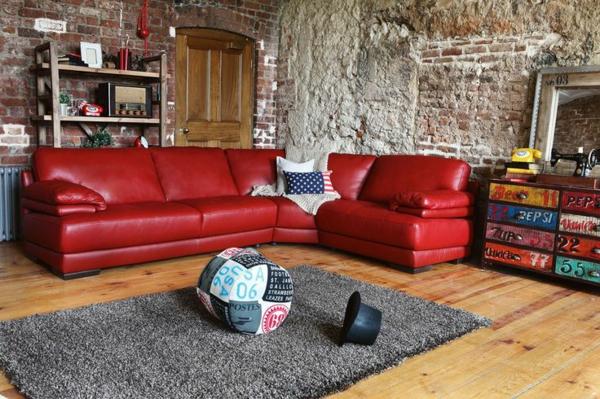 Eckcouch sofa Leder familien grau teppich fell