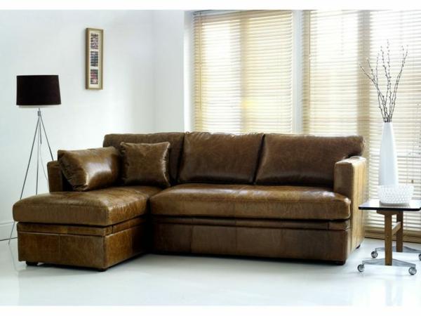 Eckcouch beistelltisch rollen Leder stehlampe sofa