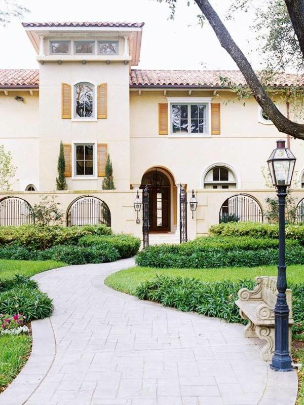 Fassaden gestaltung Einfamilienhaus vorgarten gestaltung gehweg pflanzen