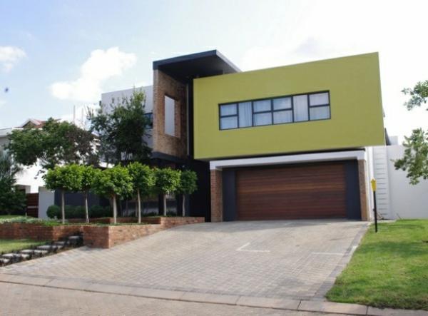 Fassadengestaltung Einfamilienhaus garage fassaden farbe grün