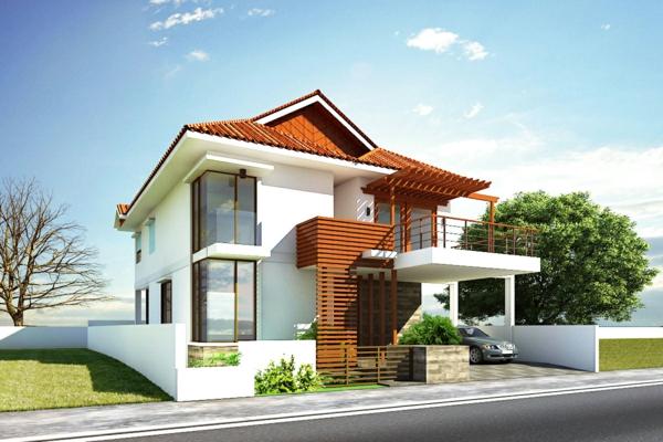 Fassadengestaltung Einfamilienhaus hausfassade farbe weiß holz rasen sommerhaus