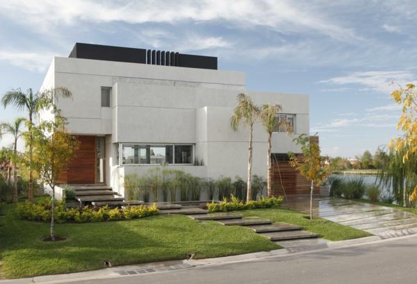 Fassadengestaltung Einfamilienhaus vorgarten gestalten palmenarten exotische gartenpflanzen
