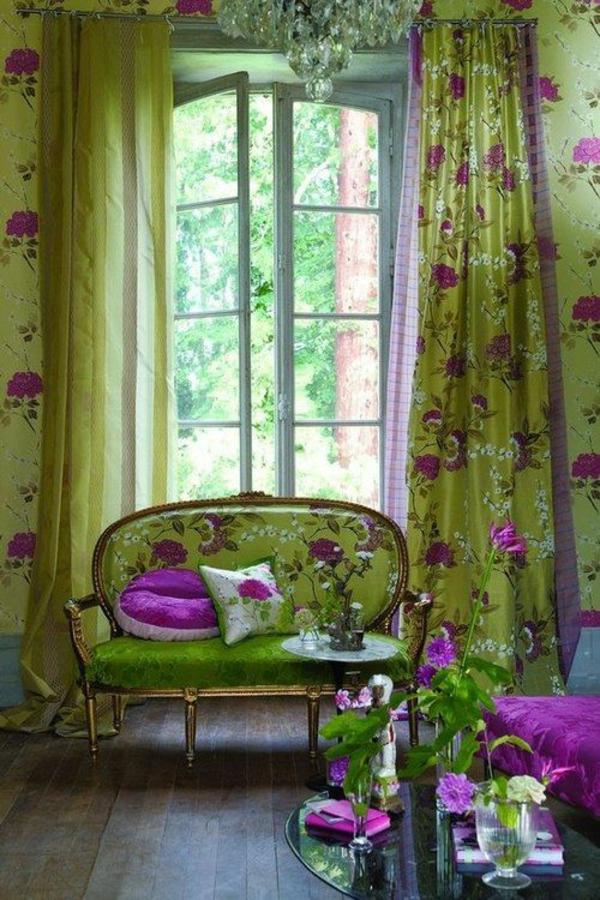 Gardinen in Grün für alle Saisons blumen muster
