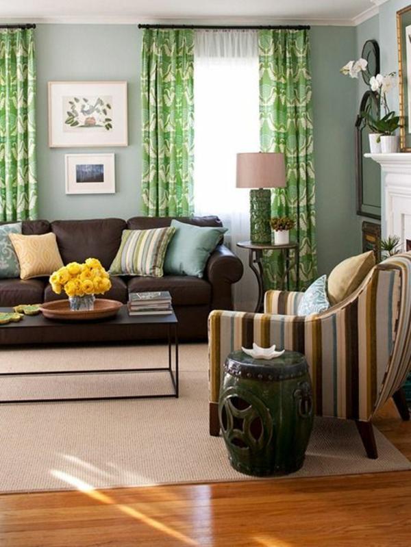 farben Gardinen in Grün für alle Saisons boden