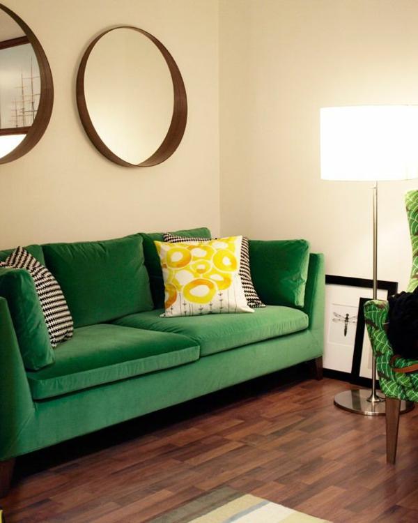 Grüne Sofa gelb kissen deko wand
