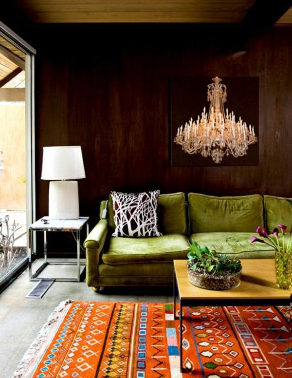 Grüne design Sofa weiß lampenschirm schwarz couch wand