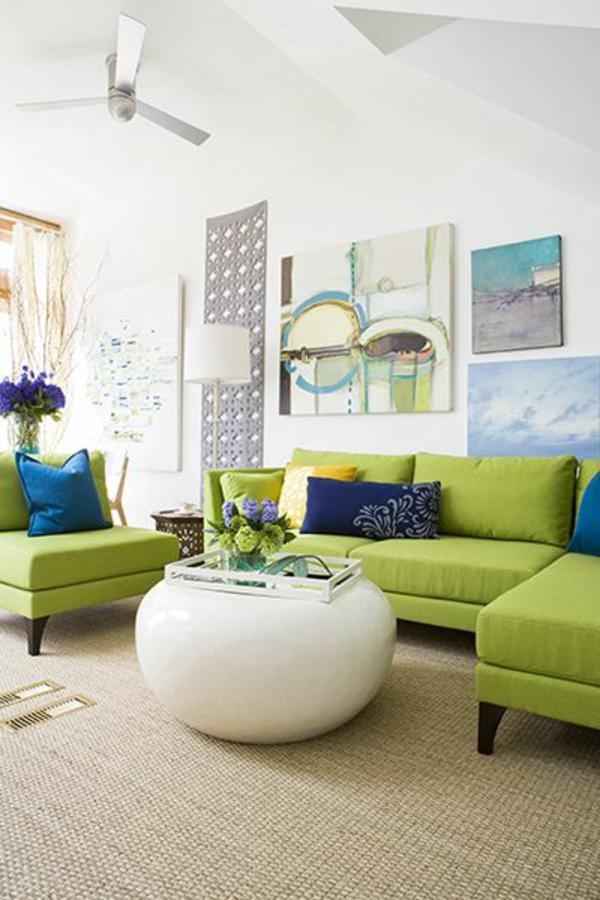 Grüne design Sofas couchtisch weiß rund