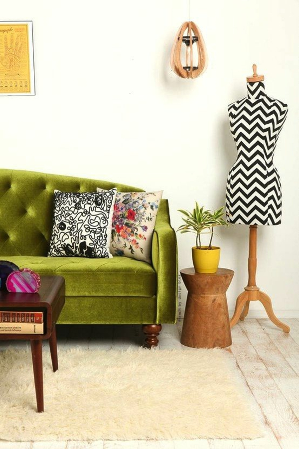 Grüne chavron muster Sofas damen deko