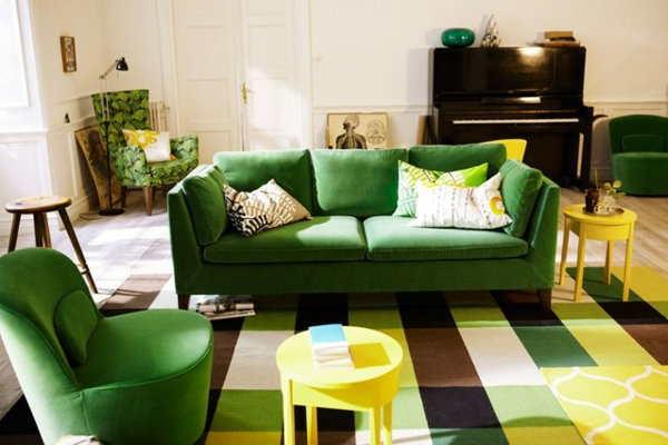 Grüne design Sofas bemalt lack gelb hocker