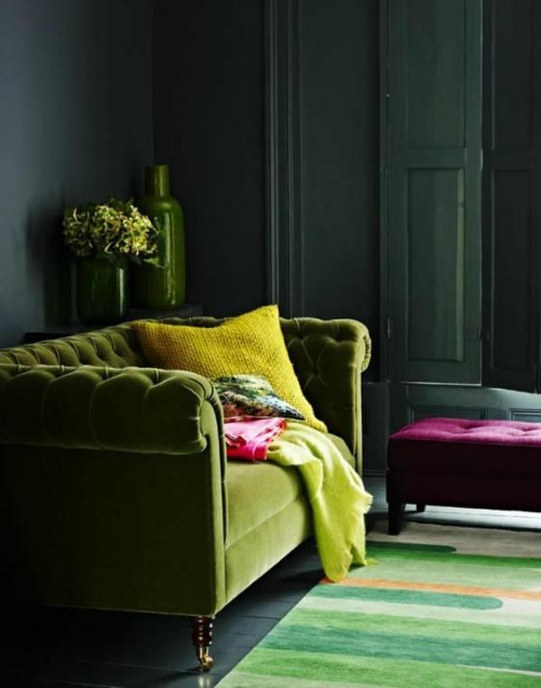 Grüne farbige atmosphäre Sofas gemütlich wohnen
