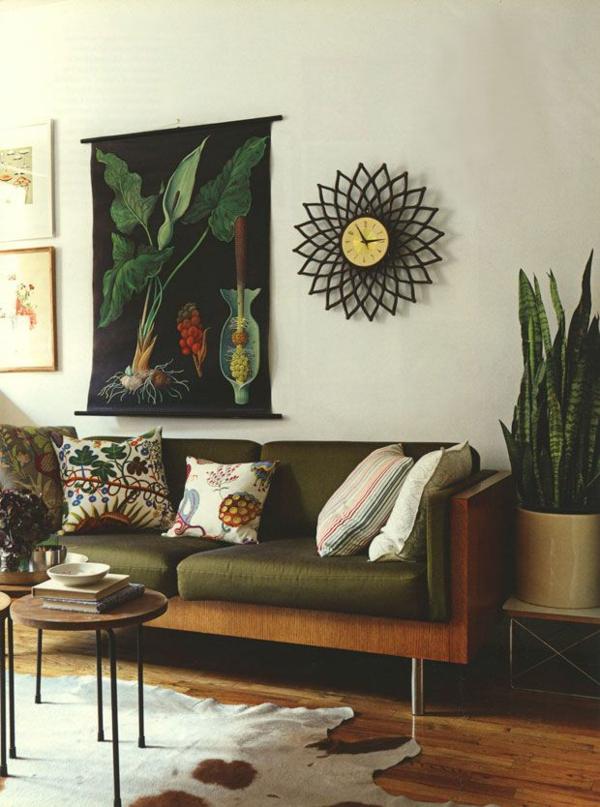Grüne Sofas wanduhr dekorativ kaffeetisch rund