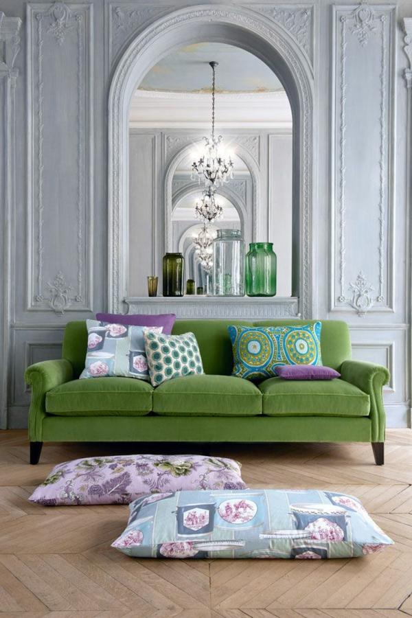 Grüne Sofas drei plätze kissen orientalisch klassisch