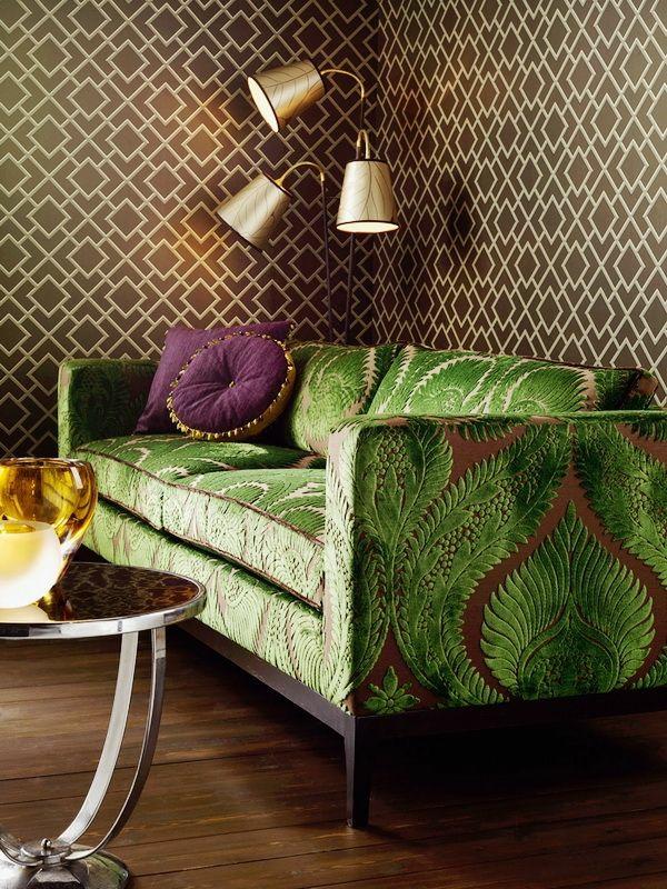 Grüne muster wanddeko Sofas klassisch muster kissen