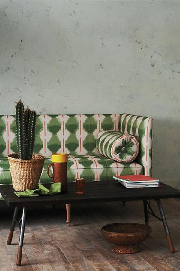 Grüne rattan gefäße Sofas muster bodenbelag
