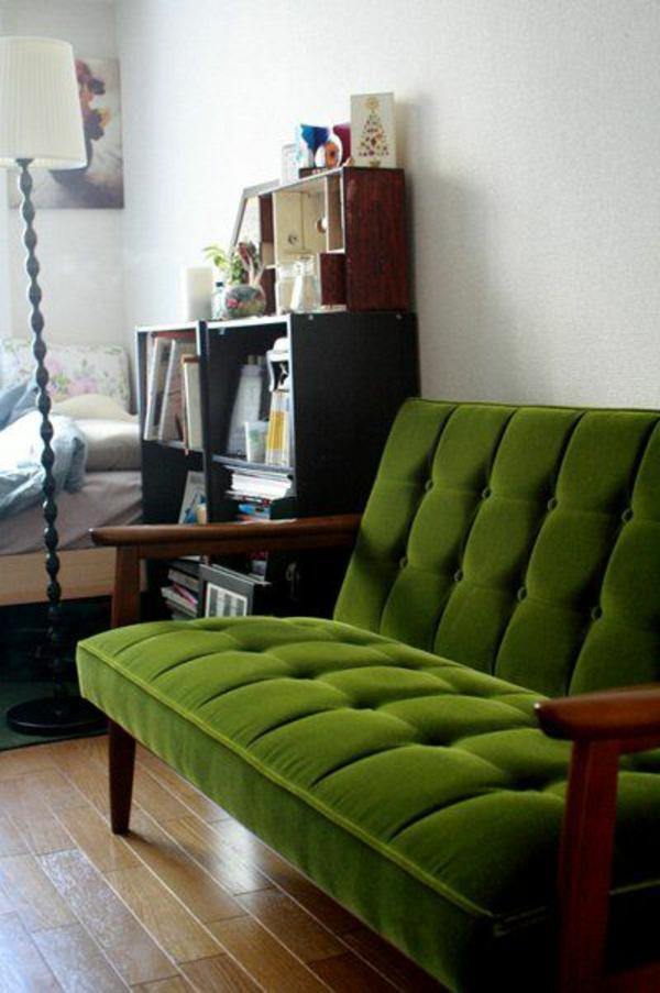 Grüne samt Sofas retro look stehlampe lampenfuß