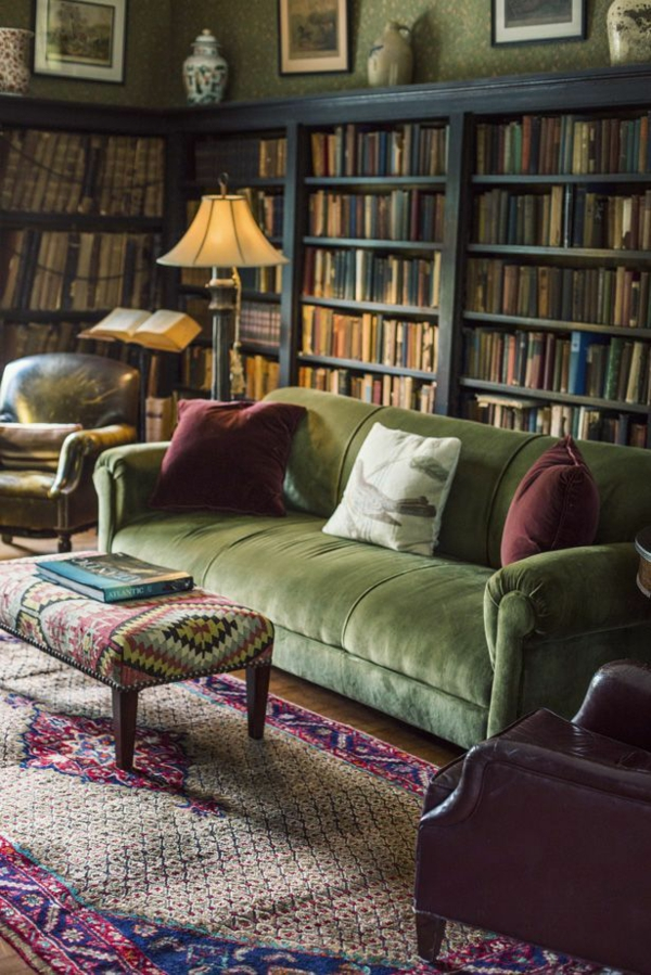 Grüne bücherregale Sofas skandinavische vision
