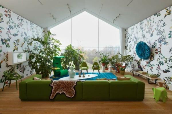 Grüne Sofas tapeten modern natürlich wand