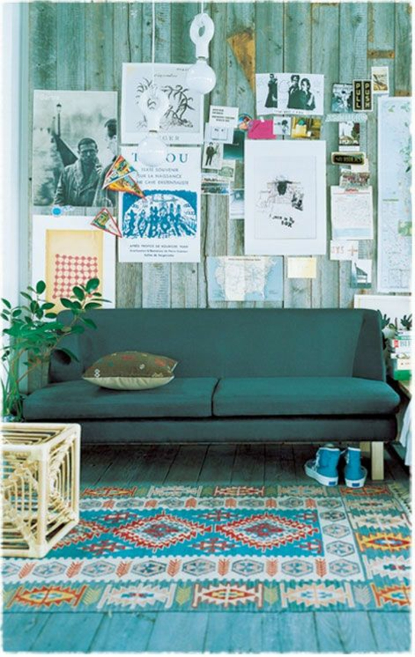 Grüne Sofas holz wandgestaltung teppich blau