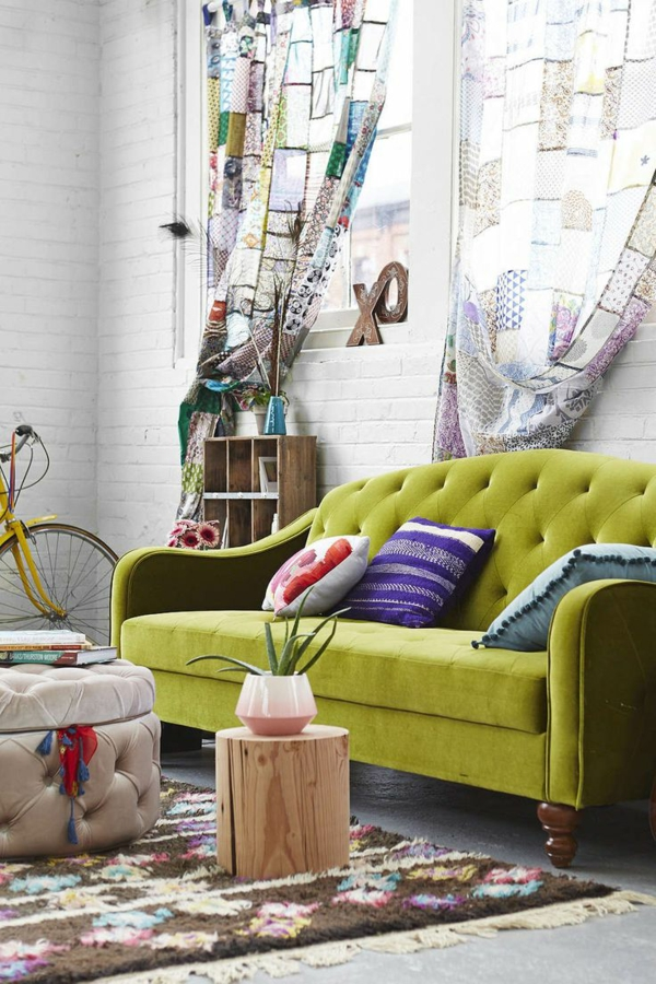 Grüne gardinen muster Sofas teppich fenster