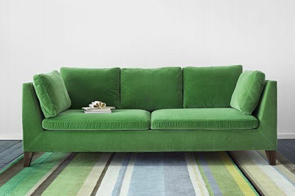 Grüne samt Sofas  teppich streifen bunt
