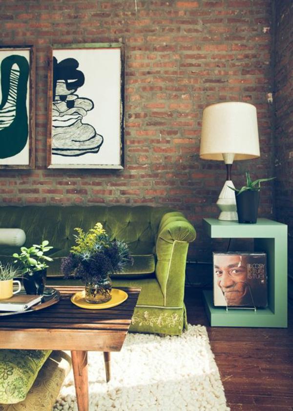 Grüne gemälde Sofas wand deko tischlampe