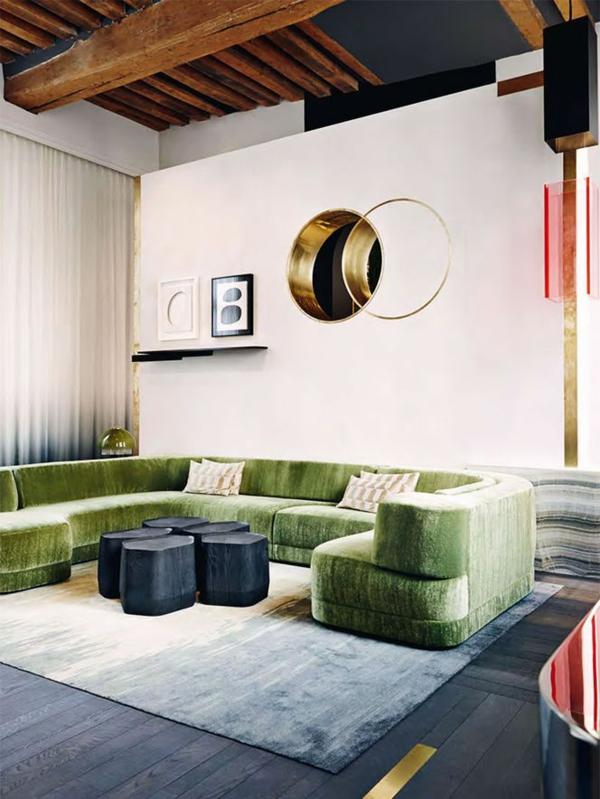 Grüne samt Sofas wohnzimmer tisch