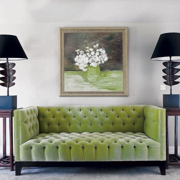 Grüne couch sofas lampenschirme gemälde