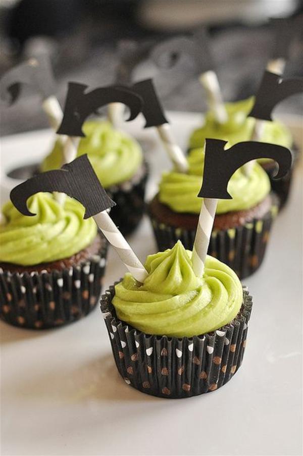 Grusel Muffins halloween gebäck grüne cupcakes backen