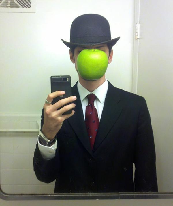 Halloween mensch anzug selfie Kostüm Ideen grün apfel